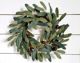 Olive & Cotton Grapevine Wreath.