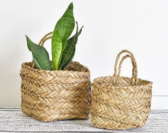 """Set of Two 6"""" Sea grass Hanging Planter."""