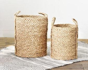 Set of Two Tall Sea grass Basket Tubs.