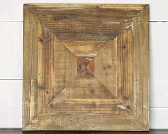 "24"" Reclaimed Wood Panel Decor. Wood Frame. Shiplap Frame"