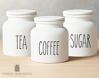 Set of 3 Custom Small White Canister with Silicone Gasket Lid. Farmhouse Jar. Kitchen Canister. Rae Dunn Cookie Jar. Coffee. Tea. Sugar.