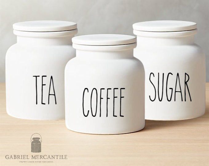 Set of 3 Custom Small White Canister with Silicone Gasket Lid. Farmhouse Jar. Kitchen Canister.  Cookie Jar. Coffee. Tea. Sugar.