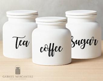 Custom Ceramic Canister with Rubber Tight Lid. Farmhouse Jar. Kitchen Canister. Rae Dunn Cookie Jar. Coffee. Tea. Sugar. Flour. Rice. Pasta.