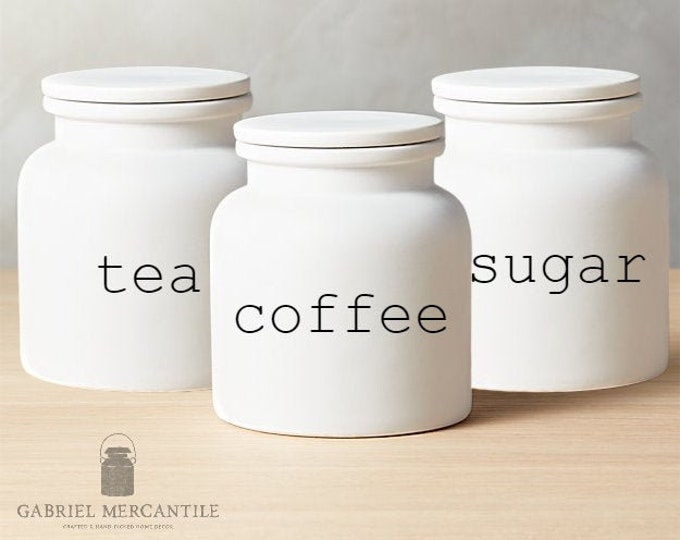 Set of 3 Custom Small White Canister with Silicone Gasket Lid. Farmhouse Jar. Kitchen Canister.  Cookie Jar. Coffee. Tea. Sugar