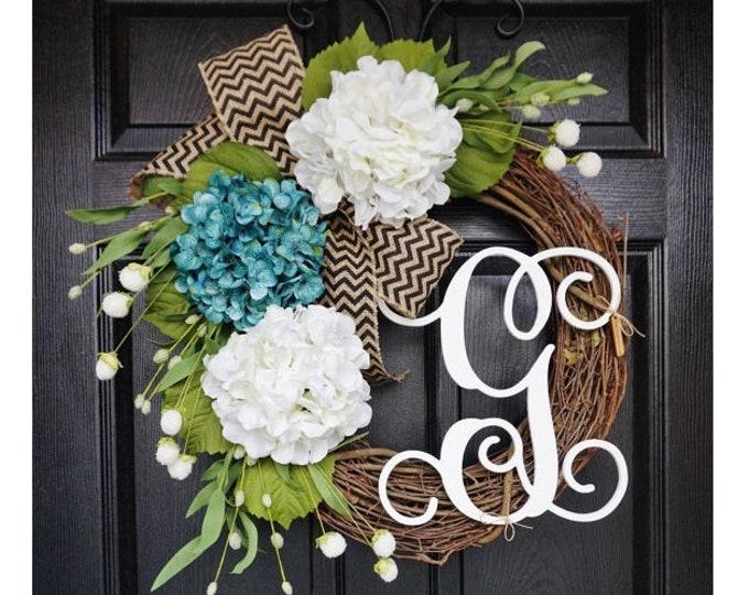 Blue & White Hydrangea Wreath