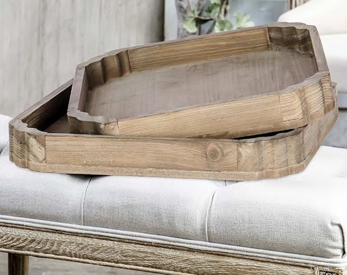 Scalloped Edge Distressed Square Wood Tray