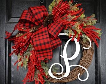 Christmas Grapevine Wreath. Christmas Wreath. Holiday Wreath. Winter Wreath. Door Wreath. Monogram Wreath. Artificial Wreath.
