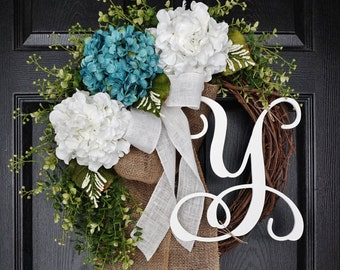 Blue & White Hydrangea Wreath