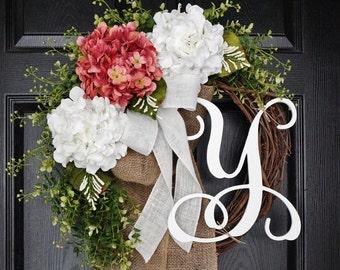 Rose Pink & White Hydrangea Wreath. Year Round Wreath. Spring Wreath. Summer Wreath.  Door Wreath.
