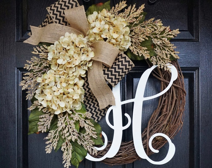 Antique White Hydrangea Wreath