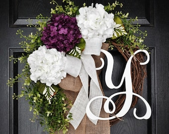 Purple & White Hydrangea Wreath