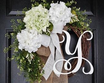 Light Green & White Hydrangea Wreath. Year Round Wreath. Spring Wreath. Summer Wreath. Door Wreath. Grapevine Wreath.