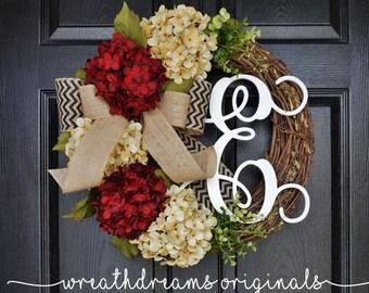 Burgundy & Antique White Hydrangea Wreath