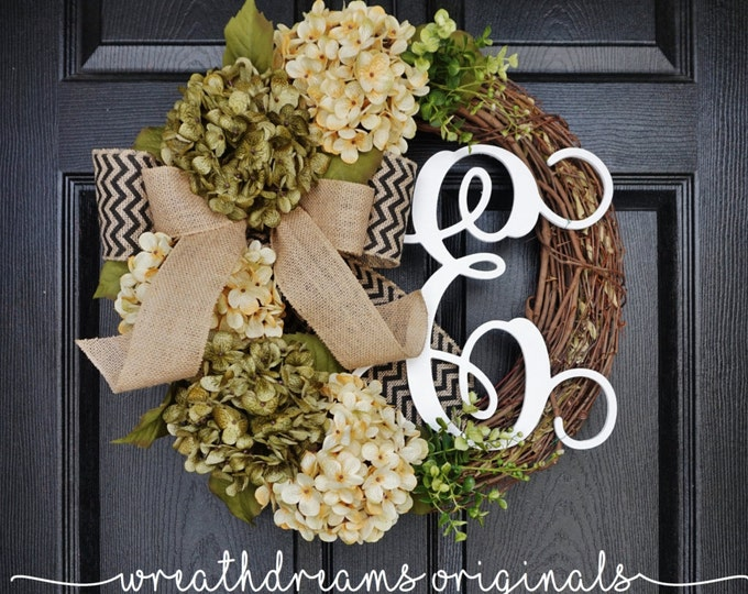 Sage Green & Antique White Hydrangea Wreath