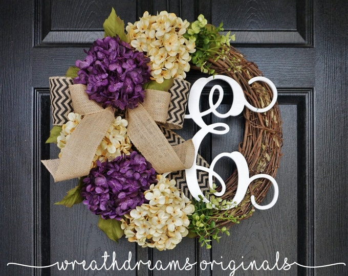 Purple & Antique White Hydrangea Wreath