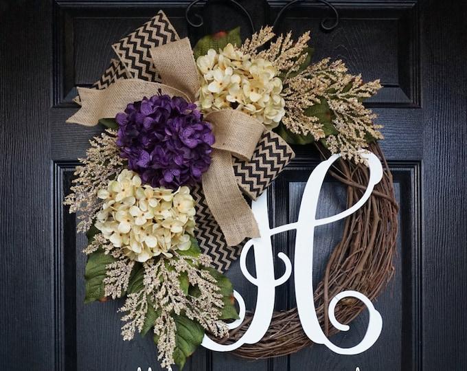 Purple & Cream Hydrangea Wreath. Year Round Wreath. Spring Wreath. Summer Wreath. Door Wreath. Grapevine Wreath.