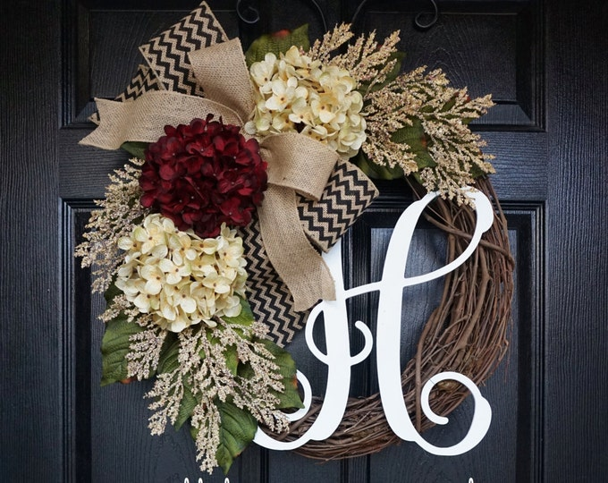 Burgundy & Cream Hydrangea Wreath. Year Round Wreath. Spring Wreath. Summer Wreath. Door Wreath. Grapevine Wreath.