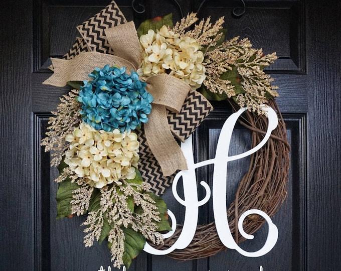 Blue & Antique White Hydrangea Wreath