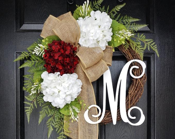 Burgundy & White Hydrangea Wreath. Year Round Wreath. Spring Wreath. Summer Wreath. Door Wreath. Grapevine Wreath.