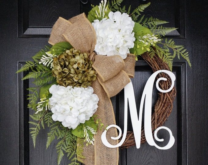 Sage Green & White Hydrangea Wreath