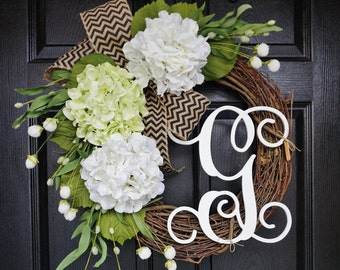 Light Green & White Hydrangea Wreath