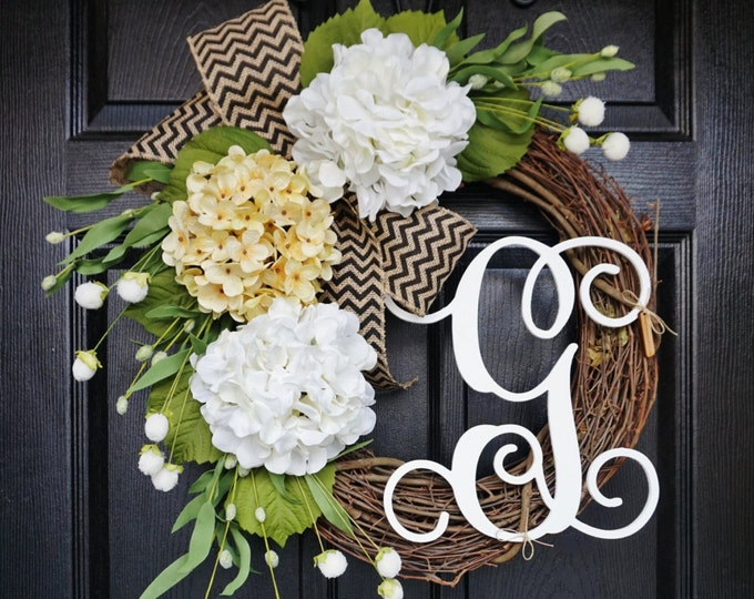 Antique White & White Hydrangea Wreath