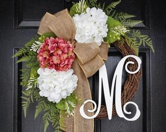 Rose Pink & White Hydrangea Wreath. Year Round Wreath. Spring Wreath. Summer Wreath. . Door Wreath