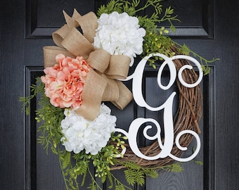 Coral & White Hydrangea Grapevine Wreath