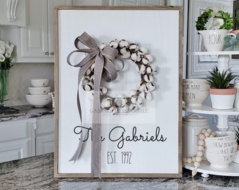 Custom Large White Wash Wood Wall Decor with Cotton Wreath & Hand-Painted Custom Sign