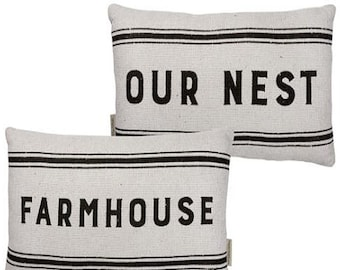 "Double-sided ""Farmhouse / Our Nest"" Distressed Cotton Pillow"