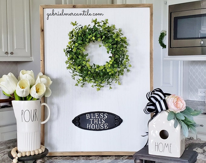 """Large White Wash Wood Wall Decor with Boxwood Wreath & """"Bless This House"""" Metal Sign."""