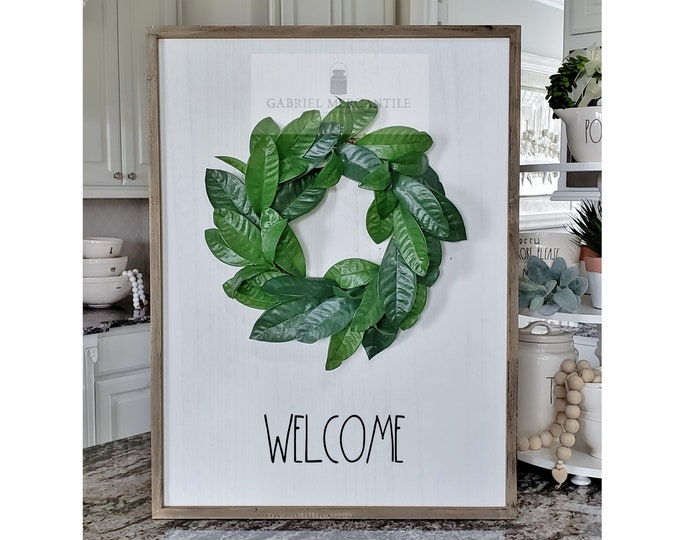 """Large White Wash Wood Wall Decor with Lemon Leaves Wreath & Hand-Painted """"Welcome"""" Sign."""