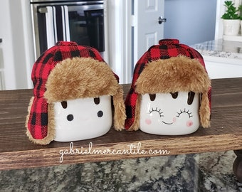 Red & Black Buffalo Plaid Trapper Hats  for Marshmallow Mugs. Farmhouse Decor. Tier Tray Decor. Tier Stand Decor. Rae Dunn Decor.