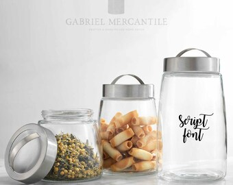 Custom Glass Canister with Tight Rubber Lid. Farmhouse Jar. Kitchen Canister. Coffee. Tea. Sugar.