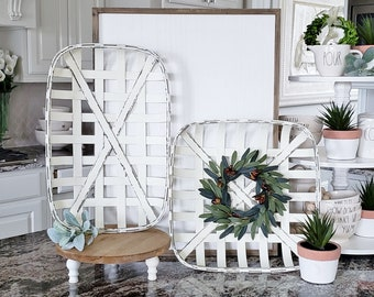 White Wash Tobacco Basket with Olive Wreath.