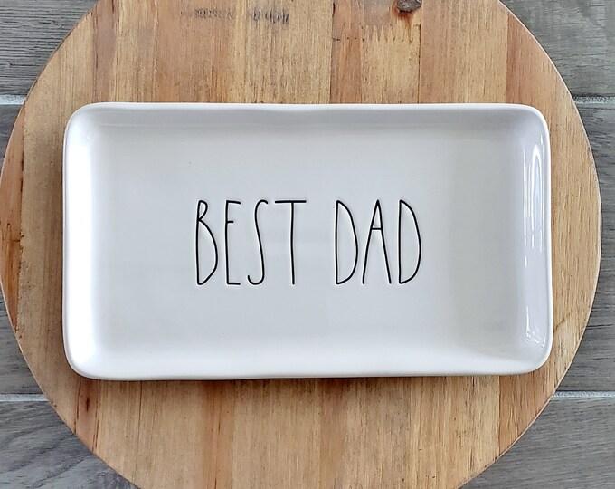 "Rae Dunn Large Letter: ""Best Dad"" Small Serving Platter"