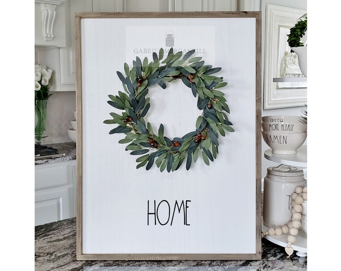 "Large White Wash Wood Wall Decor with artificial Olive Wreath & Hand-Painted ""Home"" Sign."