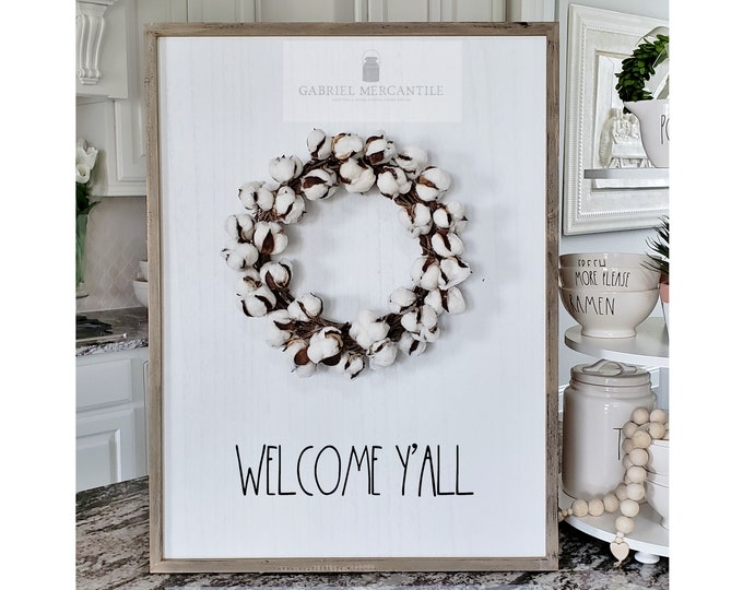 "Large White Wash Wood Wall Decor with artificial Cotton Wreath & Hand-Painted ""Welcome Y'all"" Sign."