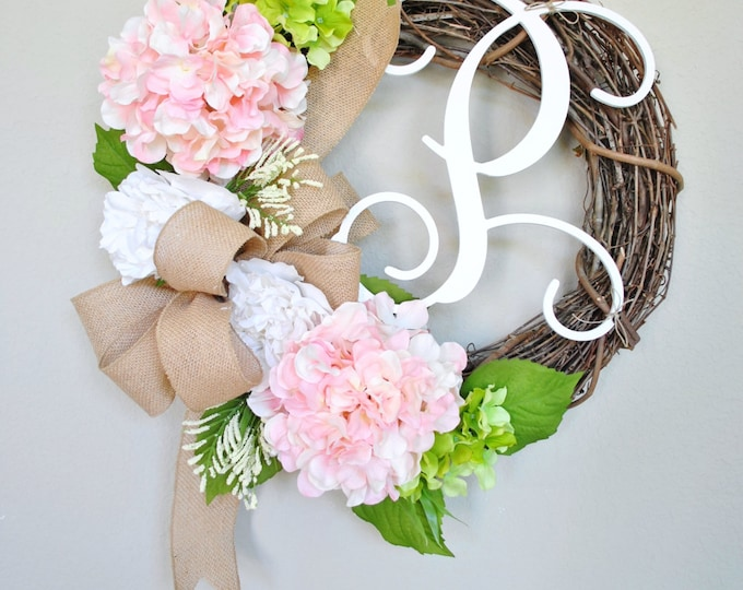 Peony & Hydrangea  Wreath. Year Round Wreath. Spring Wreath. Summer Wreath. Door Wreath. Burlap Wreath. Artificial Wreath