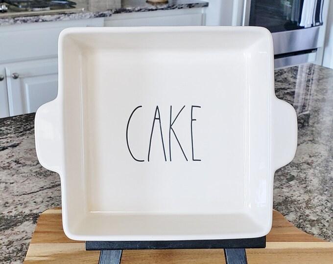 "Rae Dunn Large Letter: ""CAKE"" Baking Dish"
