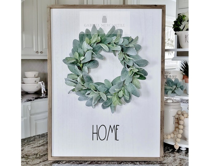 """Large White Wash Wood Wall Decor with Lambs Ear Wreath & Hand-Painted """"Home"""" Sign."""