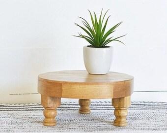 "10"" Round  Mango Wood Riser Stand. Wood Riser. Wood Stand. Wood Pedestal. Wood Tray."