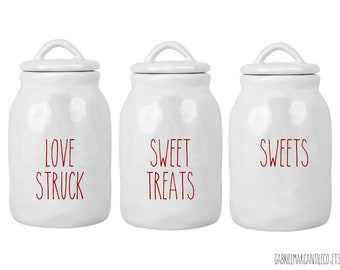 Custom Valentine Organic Ceramic Canister with Rubber Tight Lid. Farmhouse Jar. Kitchen Canister.  Cookie Jar. Coffee Canister.