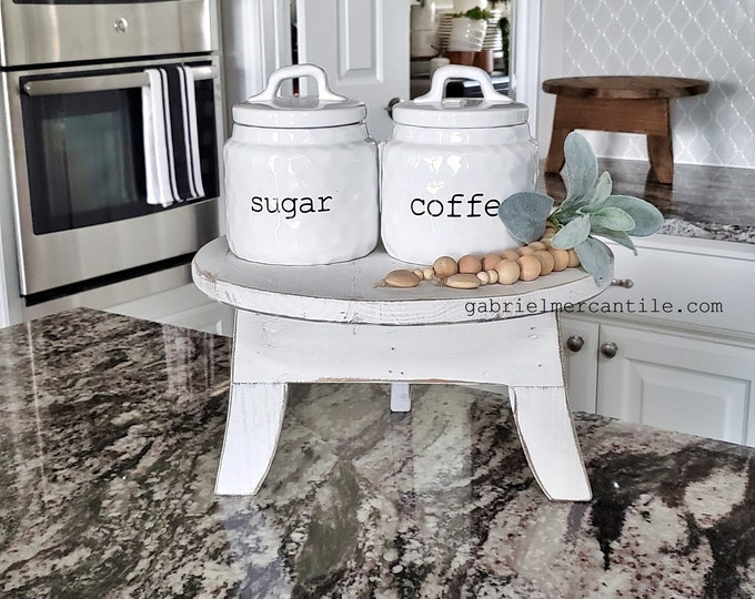 Large Round Fir Wood Table Top Riser. Wood Riser. Wood Stand. Wood Pedestal. Wood Tray. Farmhouse. Rae Dunn. Rustic. Distressed.