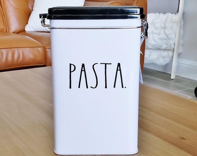 "Rae Dunn Boutique: ""Pasta"" Tin Storage Box W/Metal Clamp Locking Lid"