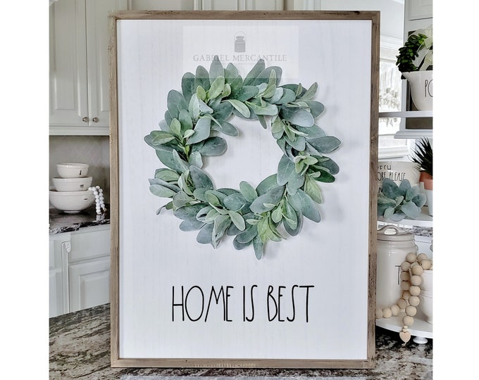 "Large White Wash Wood Wall Decor with Lambs Ear Wreath & Hand-Painted ""Home Is Best"" Sign."