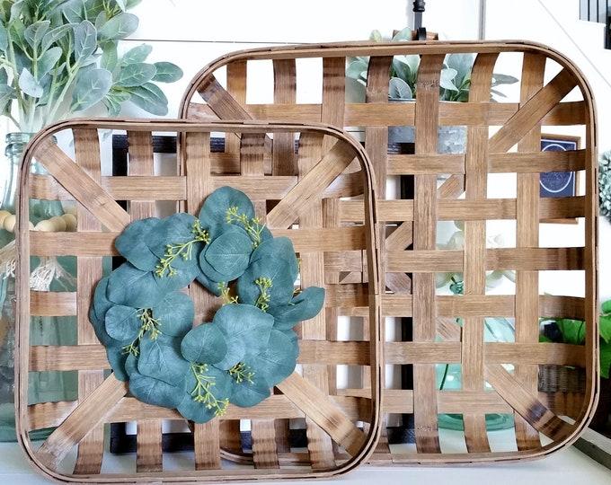 Seeded Eucalyptus Tobacco Basket Wreath.