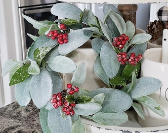 MINI Christmas Lamb's Ear Grapevine Wreath.