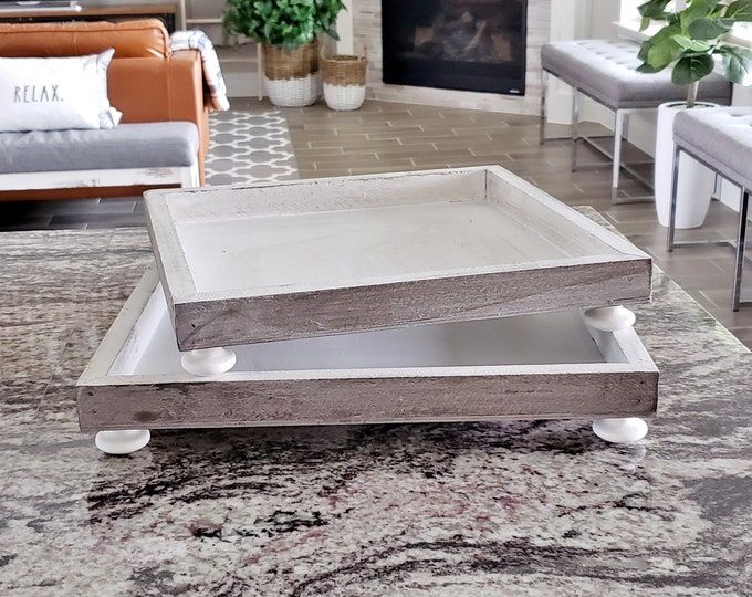 Rustic Square Footed Wood Tray.