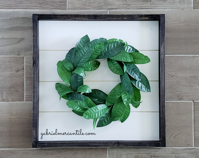 Shiplap Framed Lemon Leaf Wreath. Shiplap Sign. Shiplap Wall Decor. Shiplap Wreath. Shiplap Frame.
